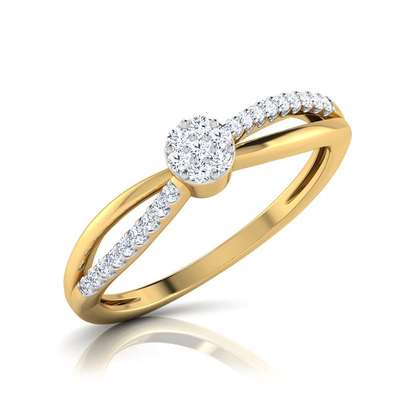 Diamond Rings 18 Karat Yellow Gold Libby Cluster Diamond Ring
