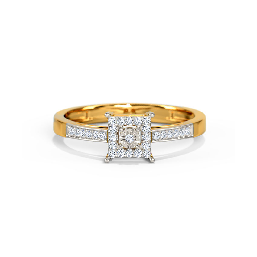 Diamond Rings 18 Karat Yellow Gold Jovita Miracle Plate Diamond Ring