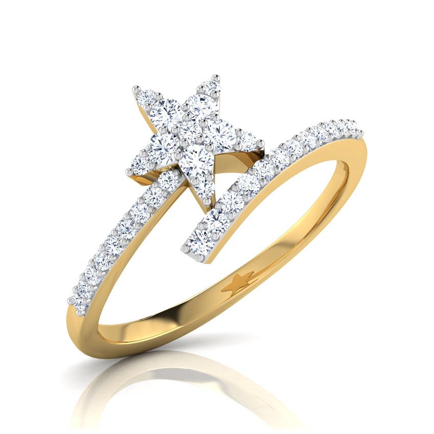Diamond Rings 18 Karat Yellow Gold Estrella Star Diamond Ring