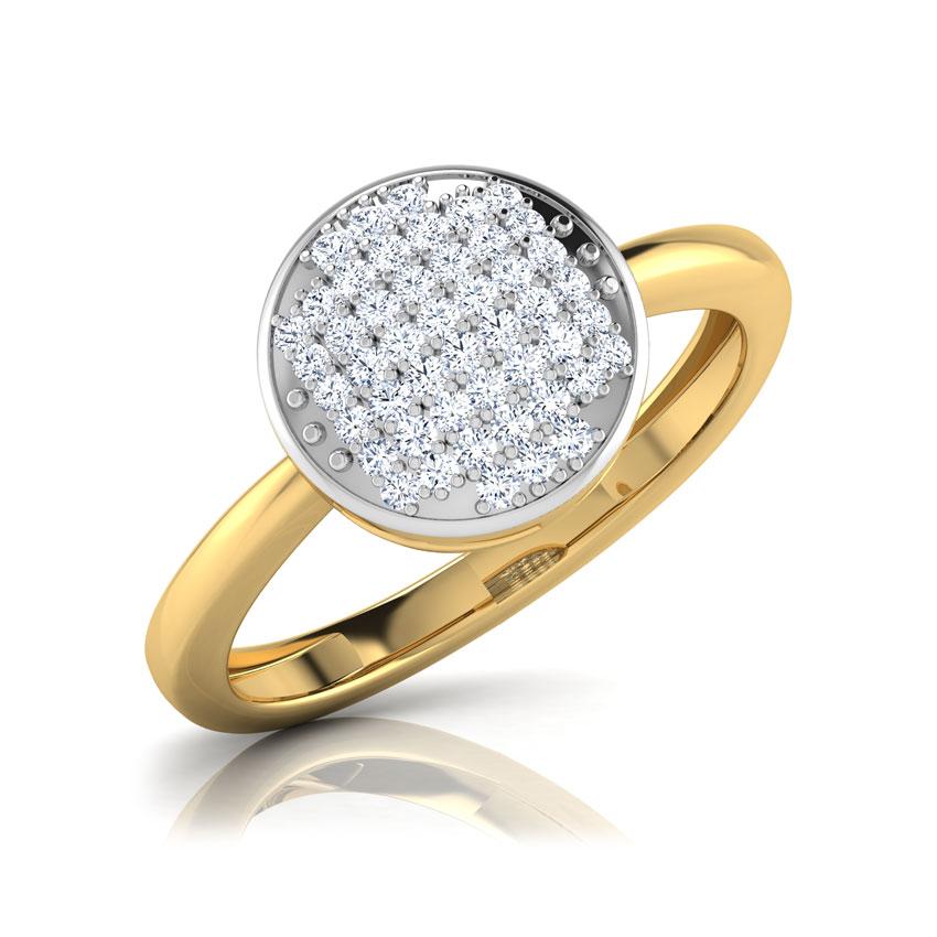 Diamond Rings 18 Karat Yellow Gold Dove Cluster Diamond Ring