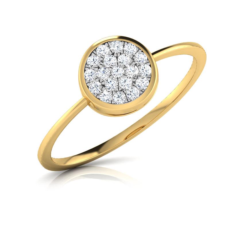 Diamond Rings 18 Karat Yellow Gold Zoe Button Diamond Ring