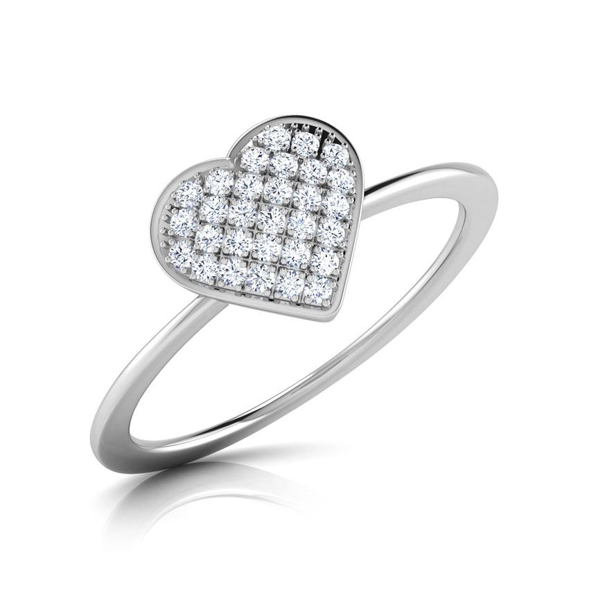 Diamond Rings 14 Karat White Gold Chloe Heart Cluster Diamond Ring