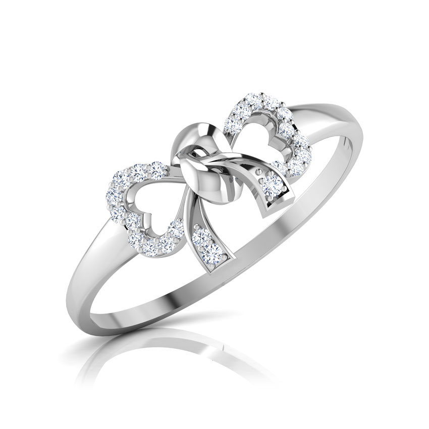 Diamond Rings 14 Karat White Gold Ava Bow Diamond Ring