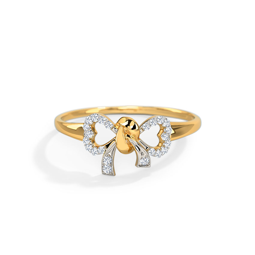 Diamond Rings 14 Karat Yellow Gold Ava Bow Diamond Ring