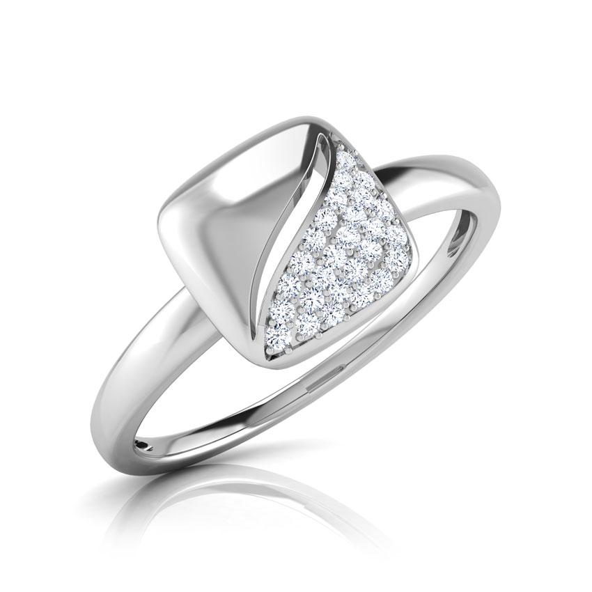 Diamond Rings 14 Karat White Gold Andrea Coffee Bean Diamond Ring
