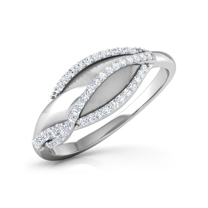 Diamond Rings 14 Karat White Gold Bibi Leaf Diamond Ring