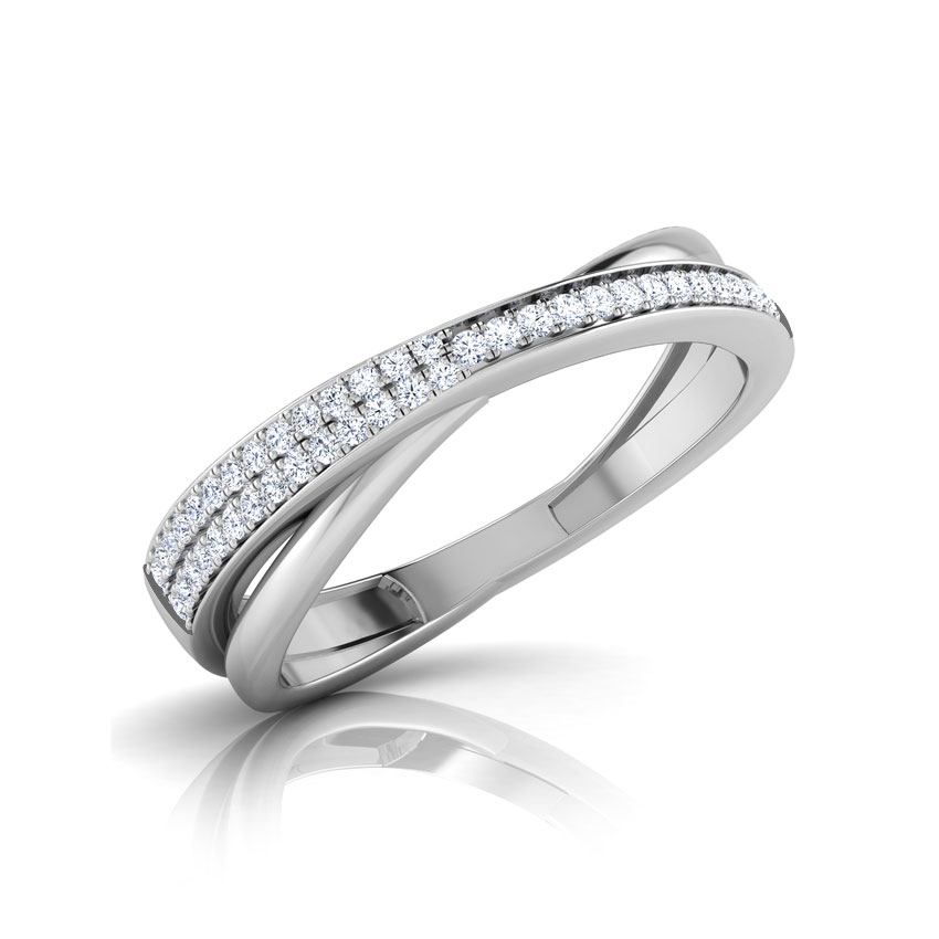 Diamond Rings 18 Karat White Gold Gilda Shimmer Thread  Diamond Band