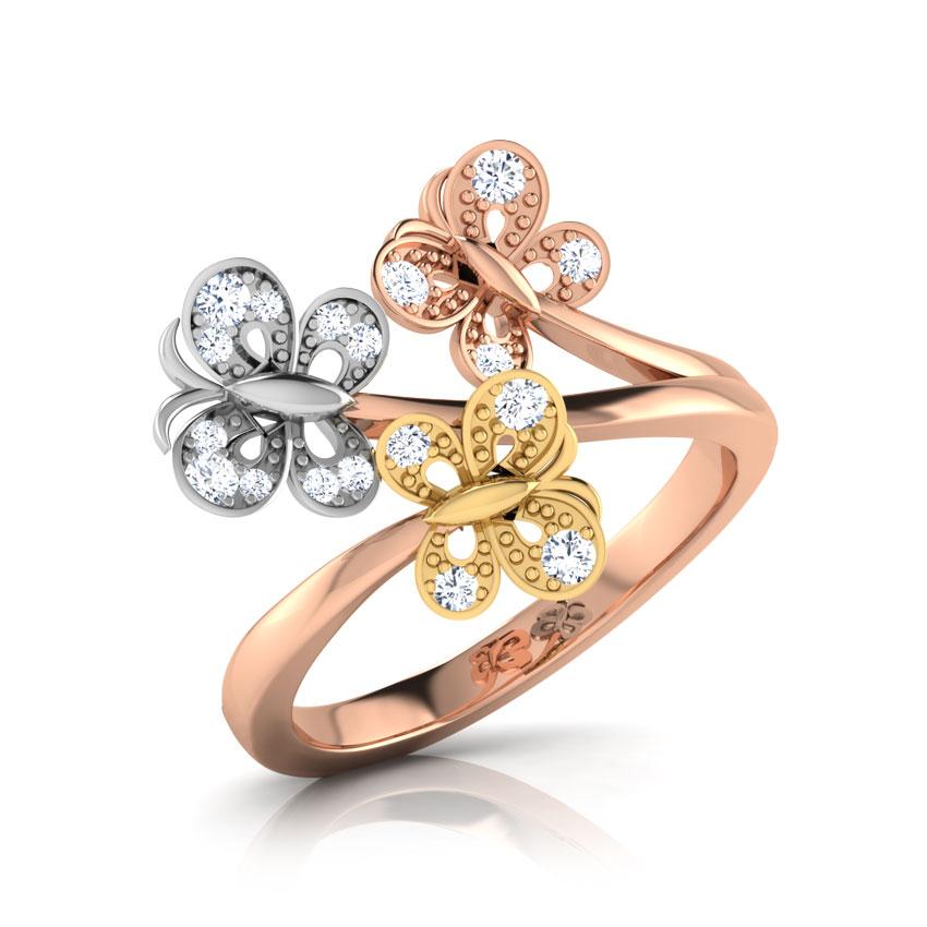 Diamond Rings 18 Karat Three Tone Gold Trio Butterfly Diamond Ring