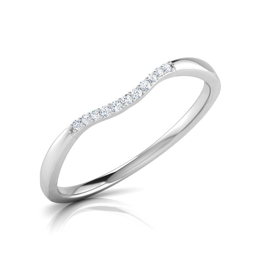Diamond Rings 14 Karat White Gold Ella Wavy Diamond Ring
