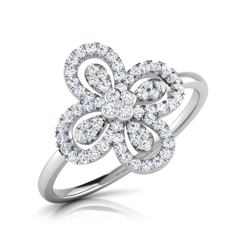 Diamond Rings 18 Karat White Gold Nizana Floral Diamond Ring