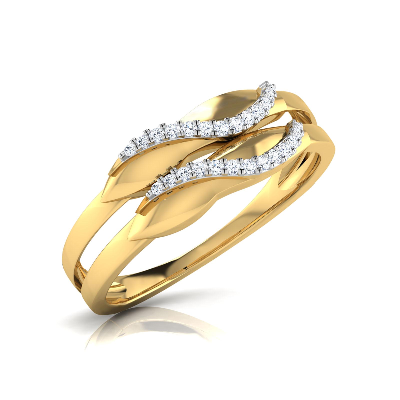 Diamond Rings 18 Karat Yellow Gold Molly Curve Diamond Band