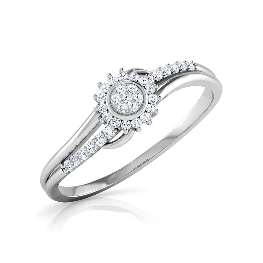Diamond Rings 18 Karat White Gold Mila Cluster Wave Diamond Ring