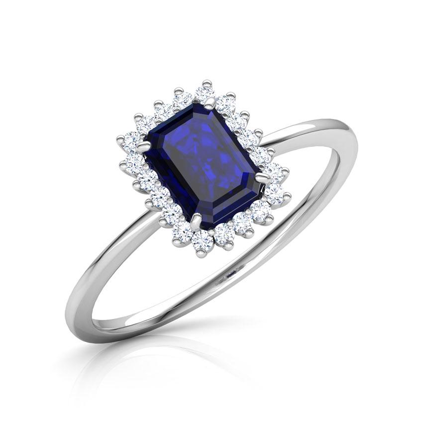 Diamond,Gemstone Rings 14 Karat White Gold Haze Elegance Diamond Ring