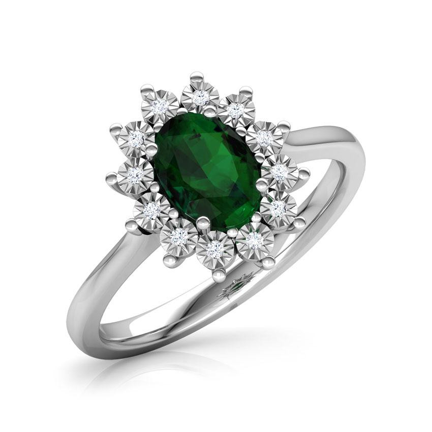 Diamond,Gemstone Rings 18 Karat White Gold Azure Royal Diamond Ring