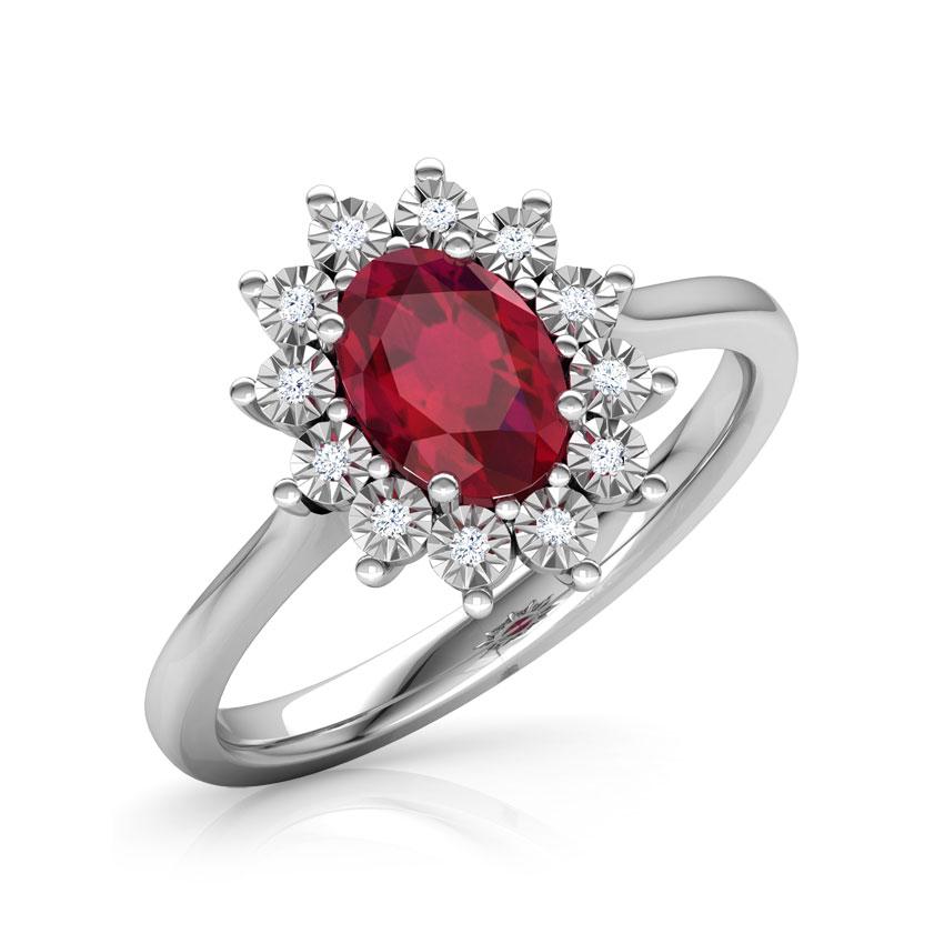 Diamond,Gemstone Rings 14 Karat White Gold Azure Royal Diamond Ring