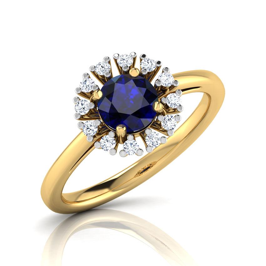 Diamond,Gemstone Rings 18 Karat Yellow Gold Azura Halo Diamond Ring