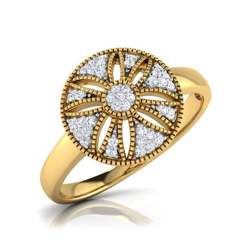 Diamond Rings 18 Karat Yellow Gold Flo Domed Diamond Ring