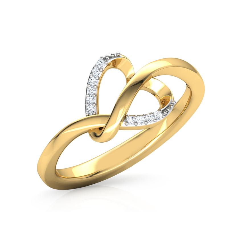 Diamond Rings 18 Karat Yellow Gold Zita Heart Knot Diamond Ring