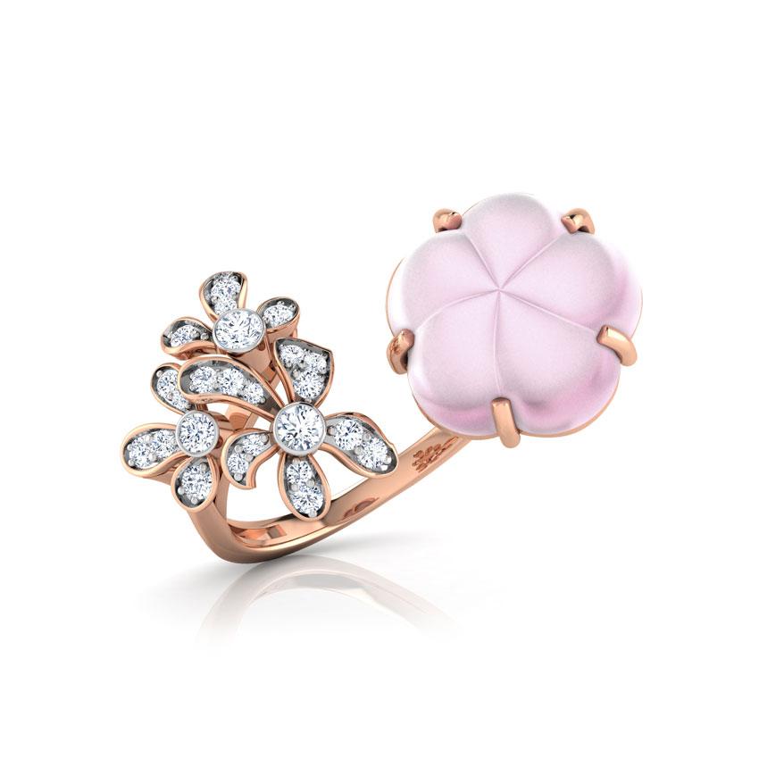 Diamond,Gemstone Rings 18 Karat Rose Gold Geny Duo Floret Diamond Ring