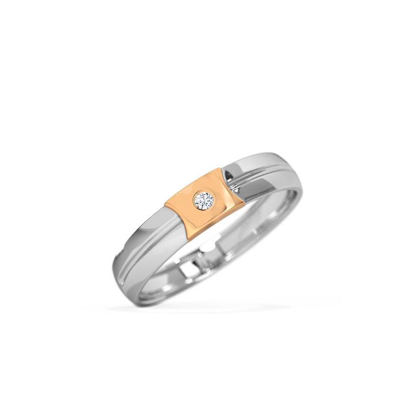 Diamond Rings 14 Karat Two Tone Gold Arthur Diamond Band for Men