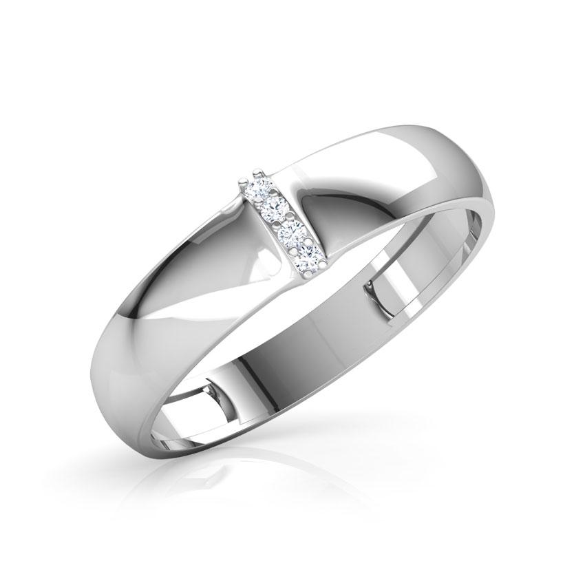 Diamond Rings 14 Karat White Gold Justin Diamond Band for Men