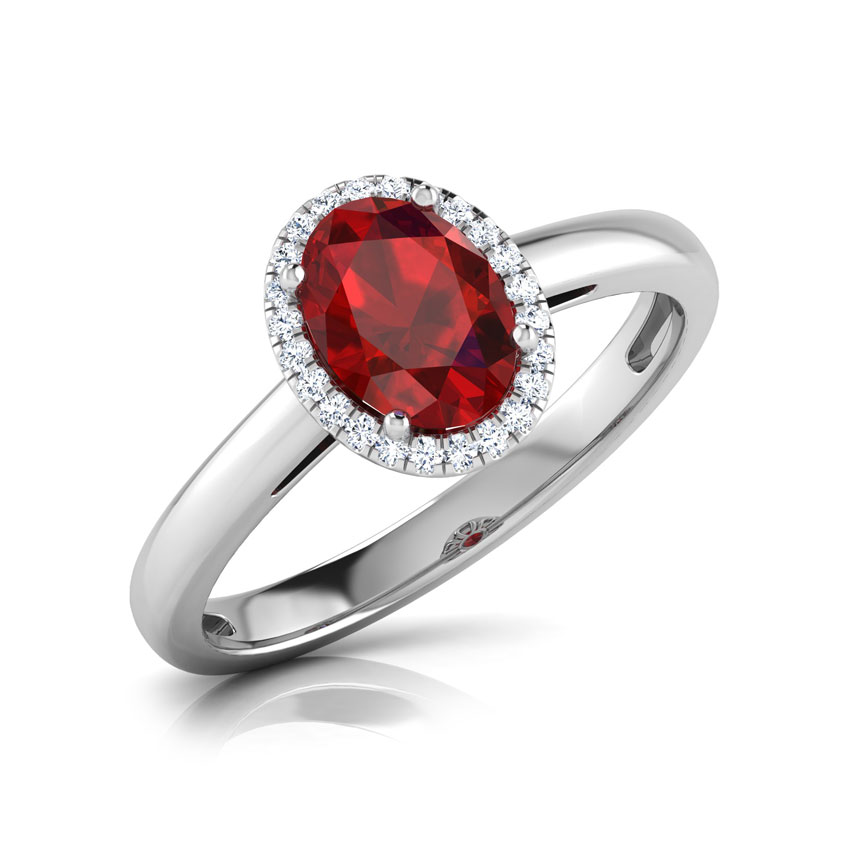 Halo Garnet Birthstone Ring
