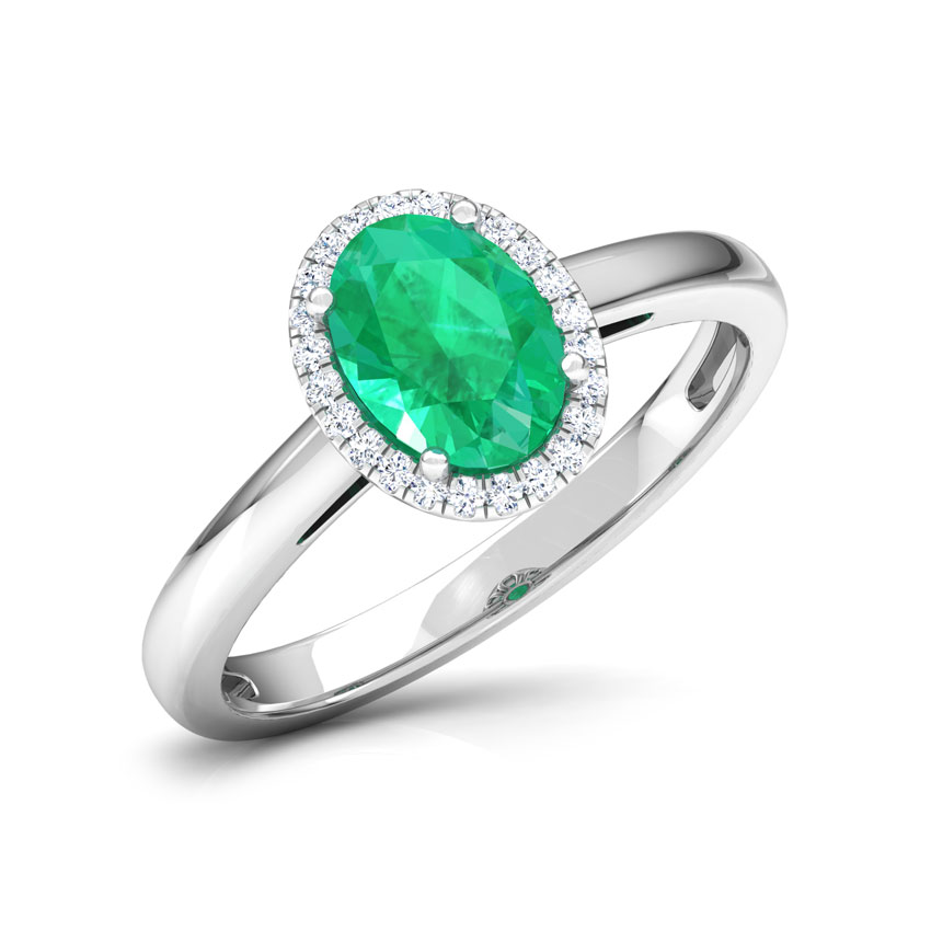 Halo Emerald Birthstone Ring