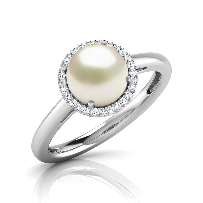 Halo Pearl Birthstone Ring