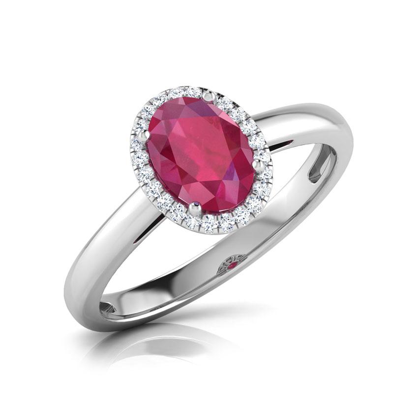 Halo Ruby Birthstone Ring