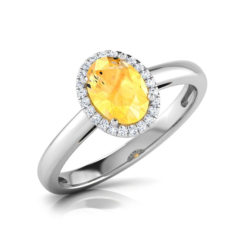 Halo Citrine Birthstone Ring
