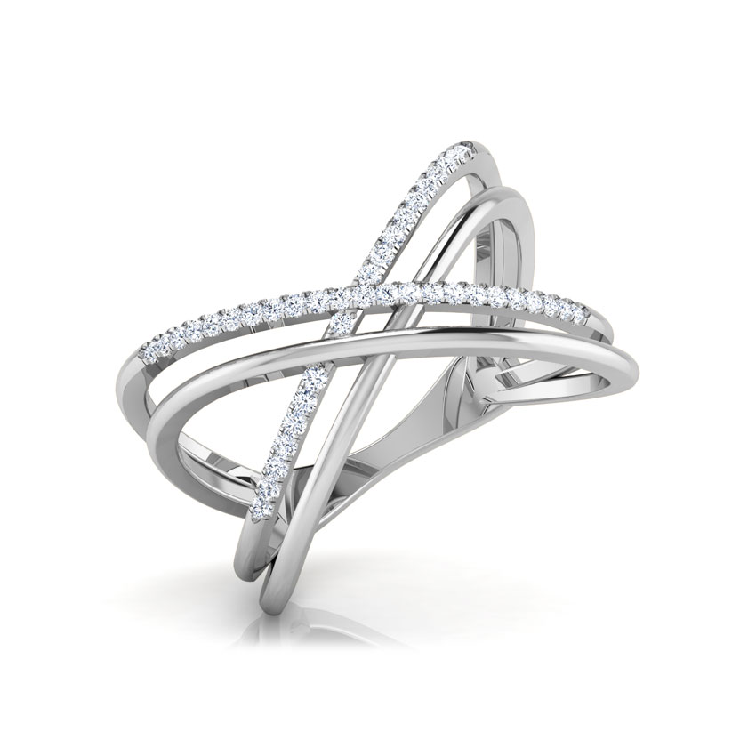 Diamond Rings 18 Karat White Gold Parallel Criss Cross Diamond Ring