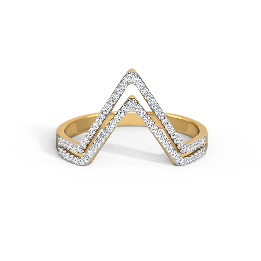 Diamond Rings 18 Karat White Gold Dual Pyramid Curved Band