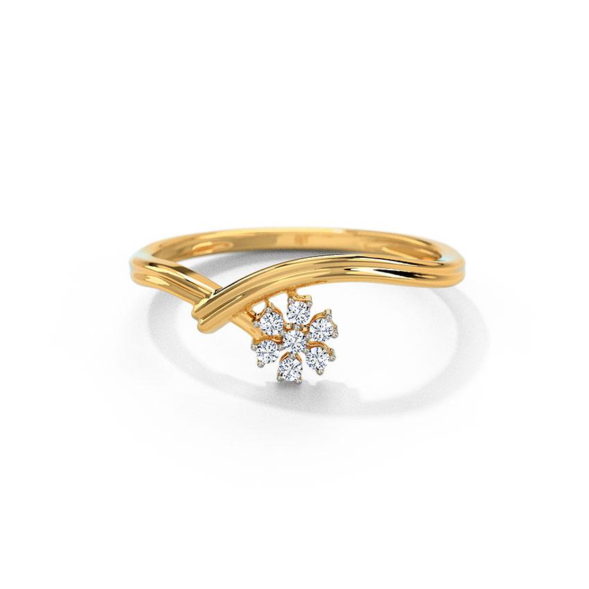 Diamond Rings 18 Karat Yellow Gold Floral Hold Diamond Ring