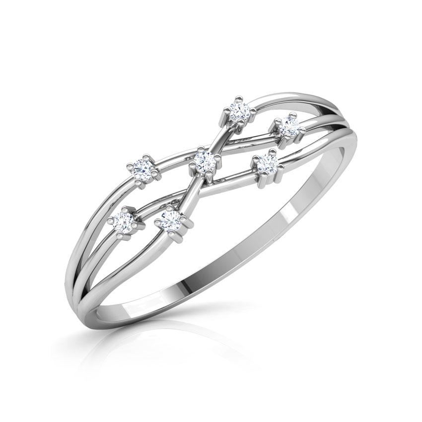 Diamond Rings 14 Karat White Gold Intertwined Glim Diamond Ring