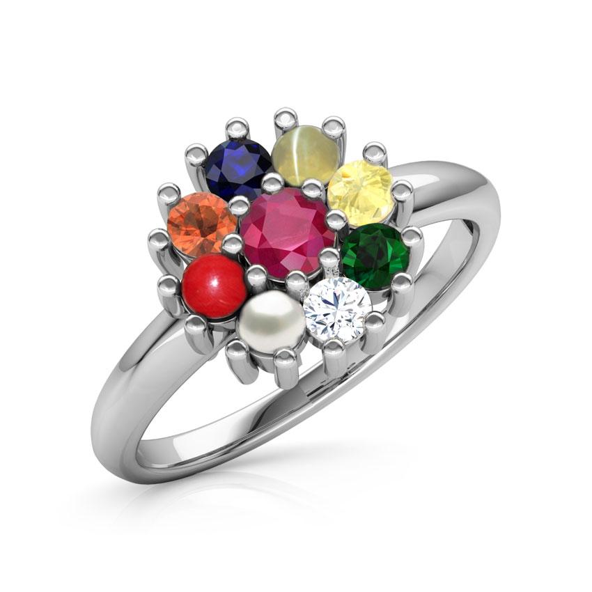 Diamond,Gemstone Rings 14 Karat White Gold Gauri Navratna Diamond Ring