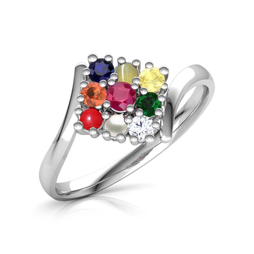 Diamond,Gemstone Rings 14 Karat White Gold Parvati Navratna Diamond Ring