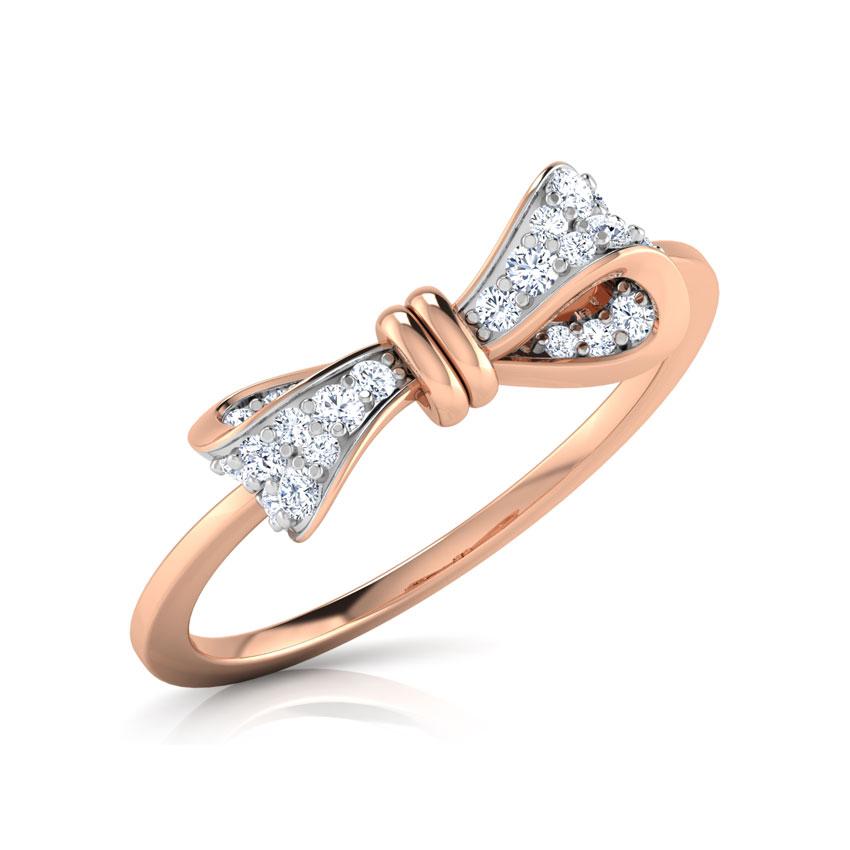 Diamond Rings 18 Karat Rose Gold Delicate Bow Diamond Ring