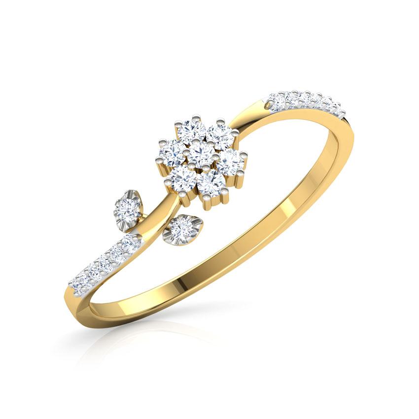 Diamond Rings 14 Karat Yellow Gold Floret Leaf Diamond Ring