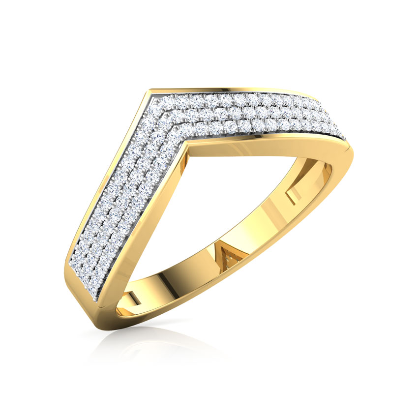 Diamond Rings 18 Karat Yellow Gold Tri Row V Diamond Ring