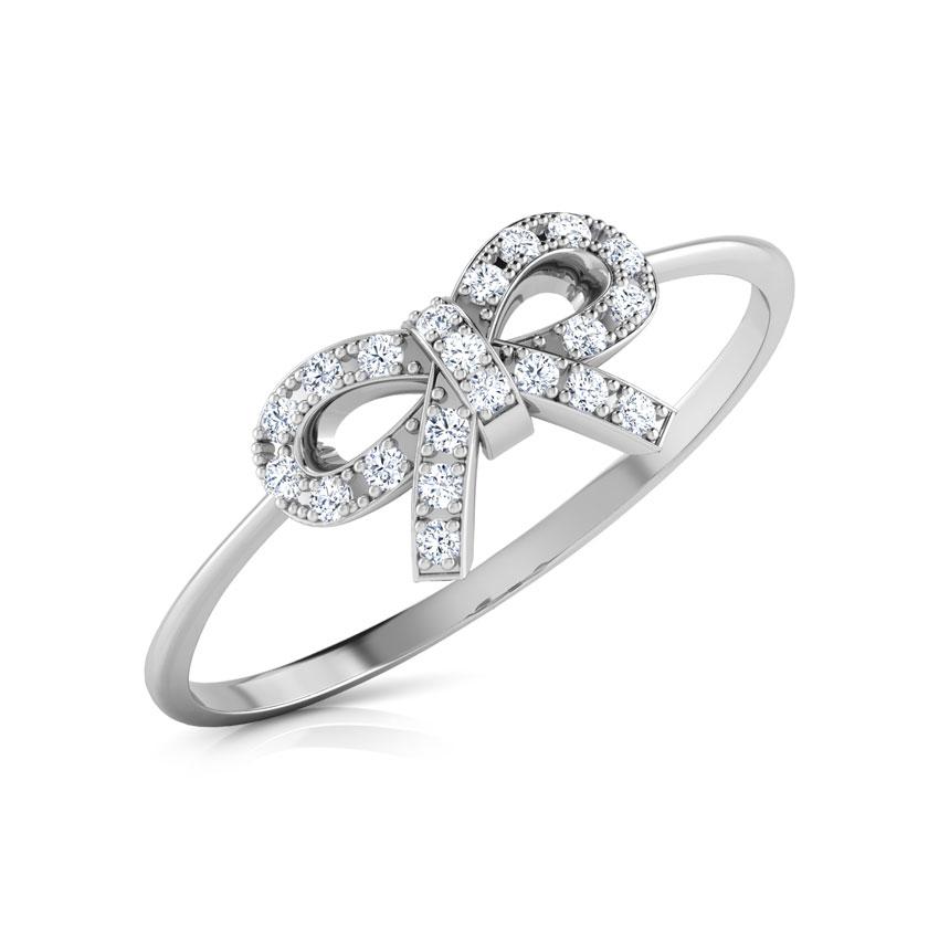 Diamond Rings 18 Karat White Gold Dazzle Bow Diamond Ring