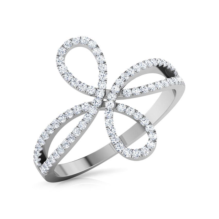 Diamond Rings 18 Karat White Gold Twine Infinity Diamond Ring