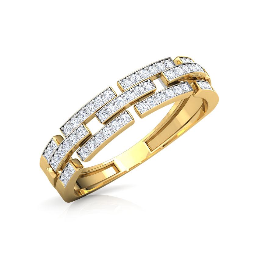 Diamond Rings 18 Karat Yellow Gold Glory Linked Band