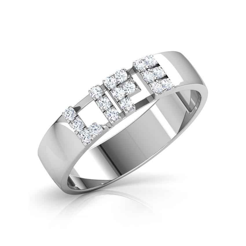 Diamond Rings 18 Karat White Gold Life Studded Diamond Band