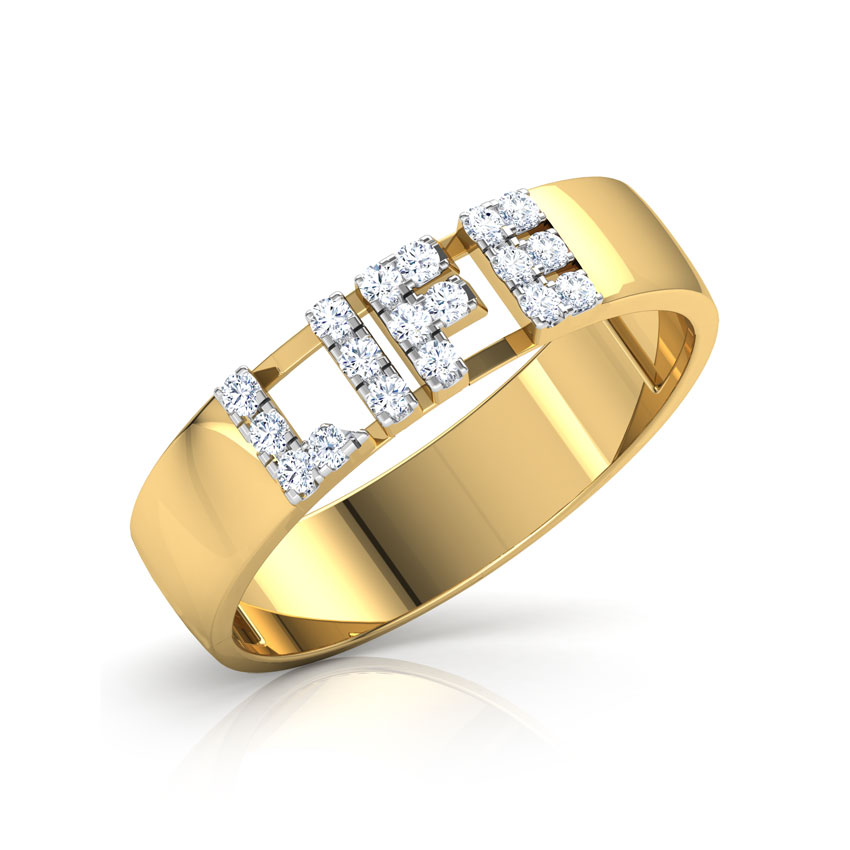 Diamond Rings 18 Karat Yellow Gold Life Studded Diamond Band
