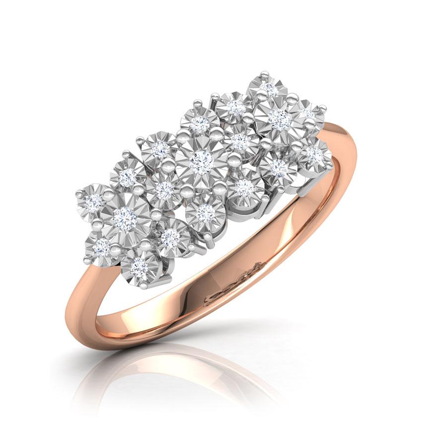 Diamond Rings 14 Karat Rose Gold Clump Miracle Plate Diamond Ring