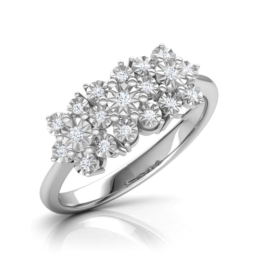 Diamond Rings 18 Karat White Gold Clump Miracle Plate Diamond Ring