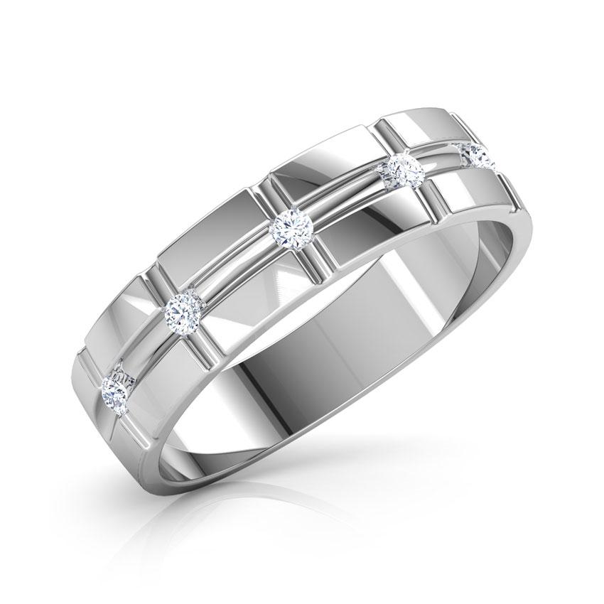 Diamond Rings 18 Karat White Gold Aaron Grooved Diamond Band