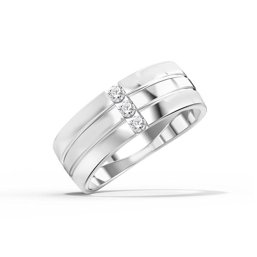 Diamond Rings 14 Karat White Gold Scott Grooved Diamond Band