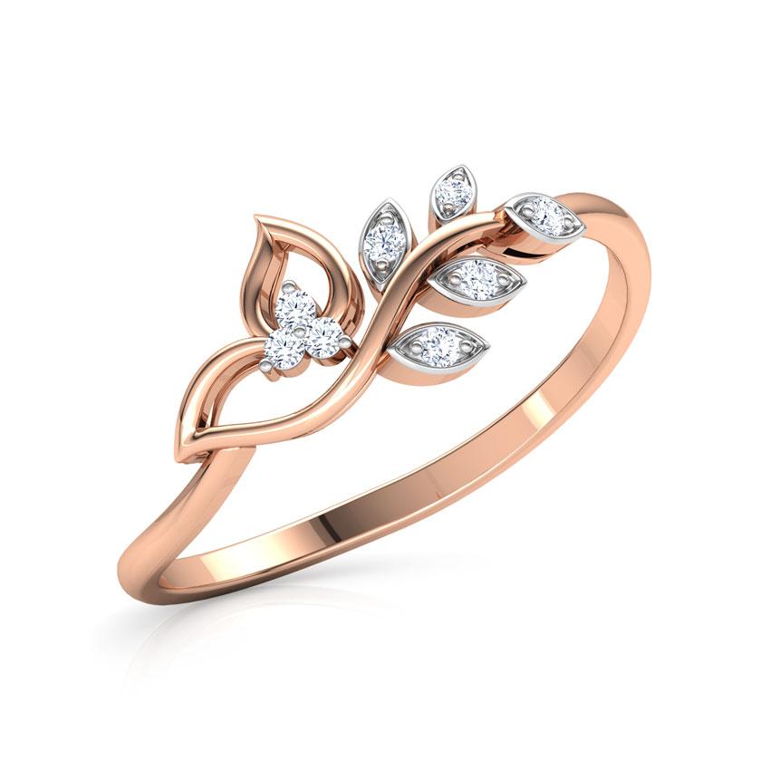 Diamond Rings 14 Karat Rose Gold Classic Leaves Diamond Ring