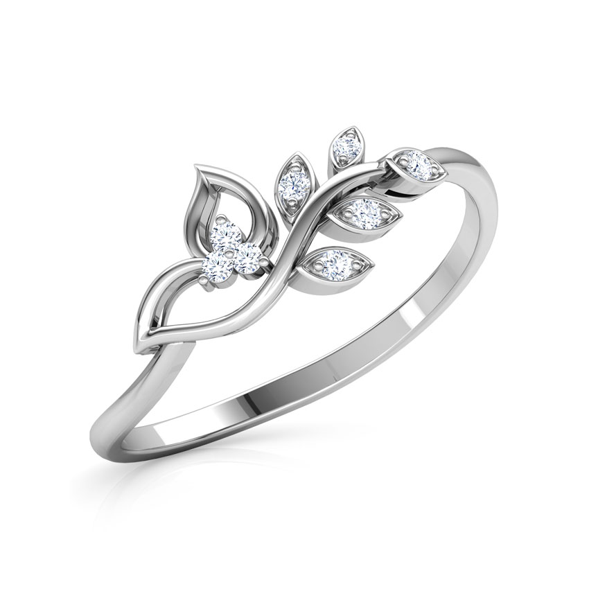 Diamond Rings 14 Karat White Gold Classic Leaves Diamond Ring